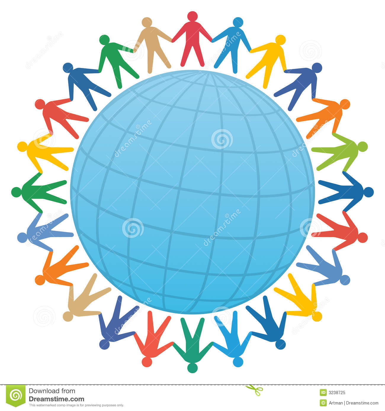 people & globe / color vector.