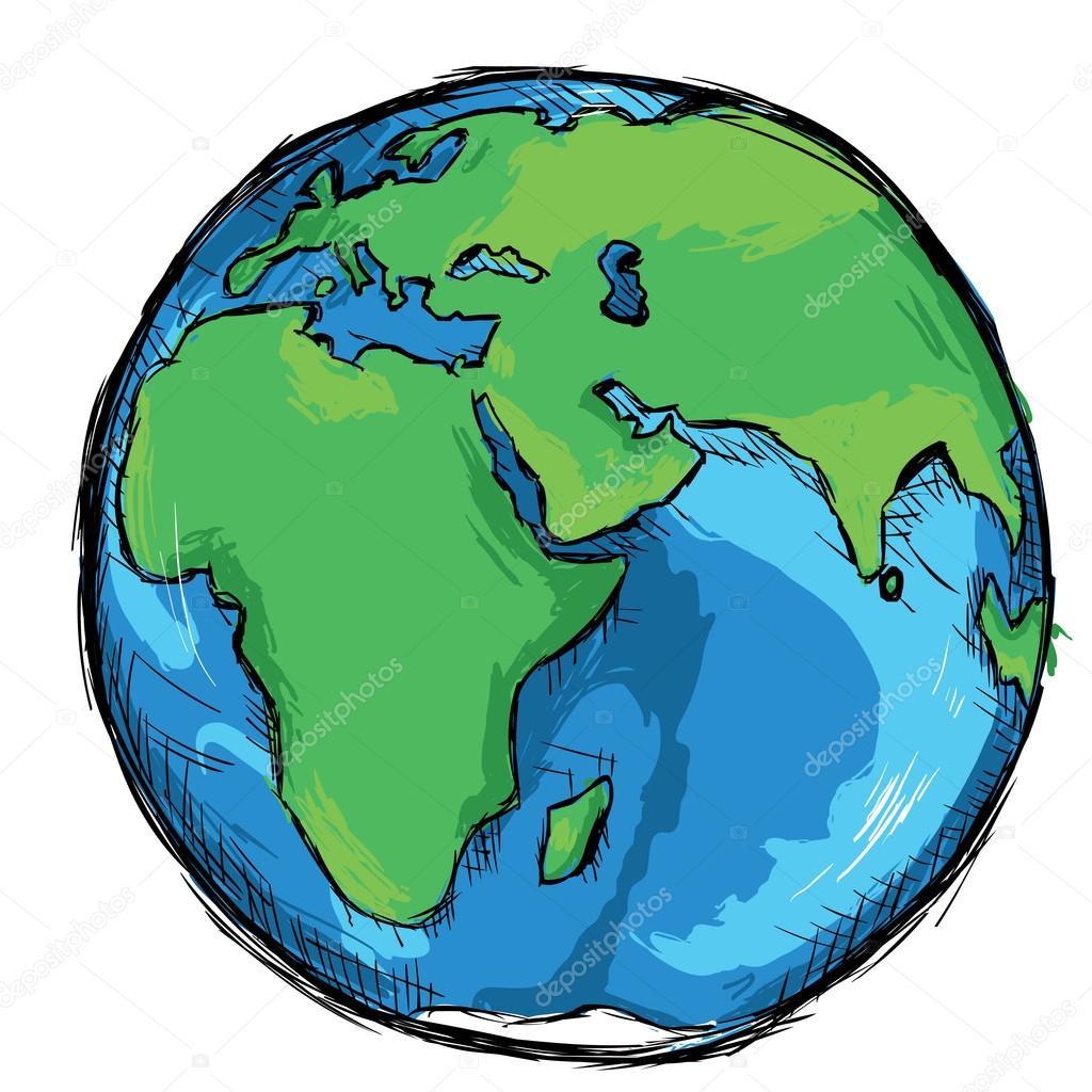 Color Sketch Globe — Stock Vector © nikiteev #102973244.