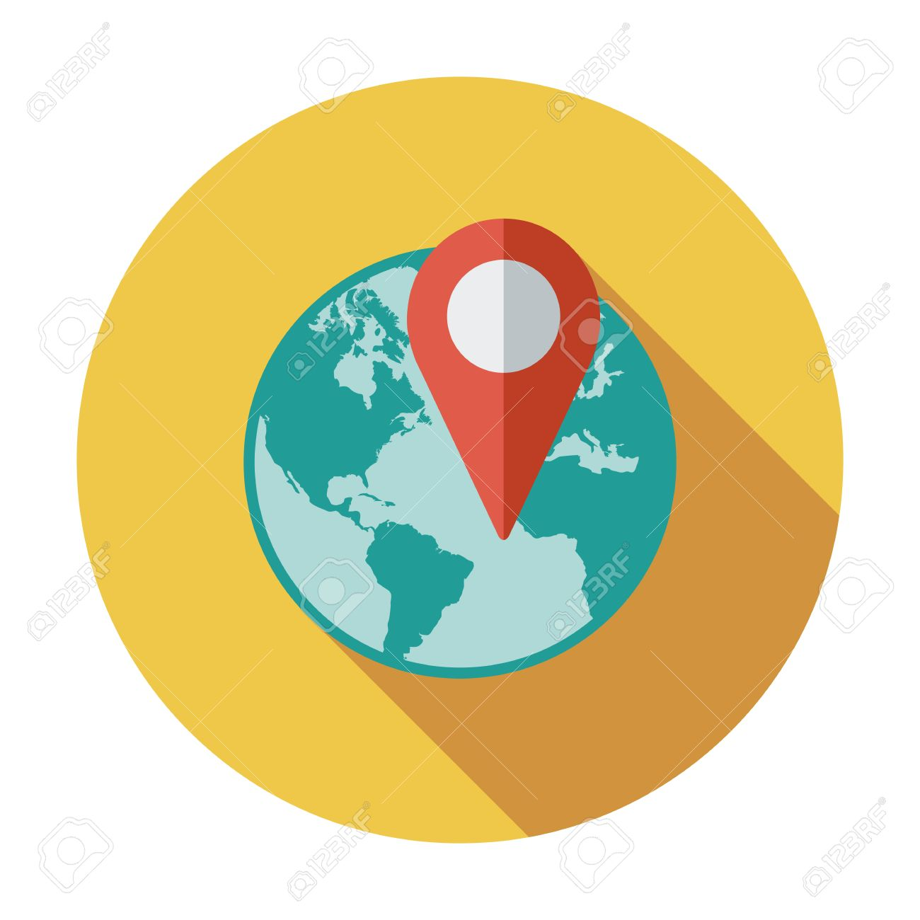 Globe With Pin. Single Flat Color Icon. Vector Illustration.