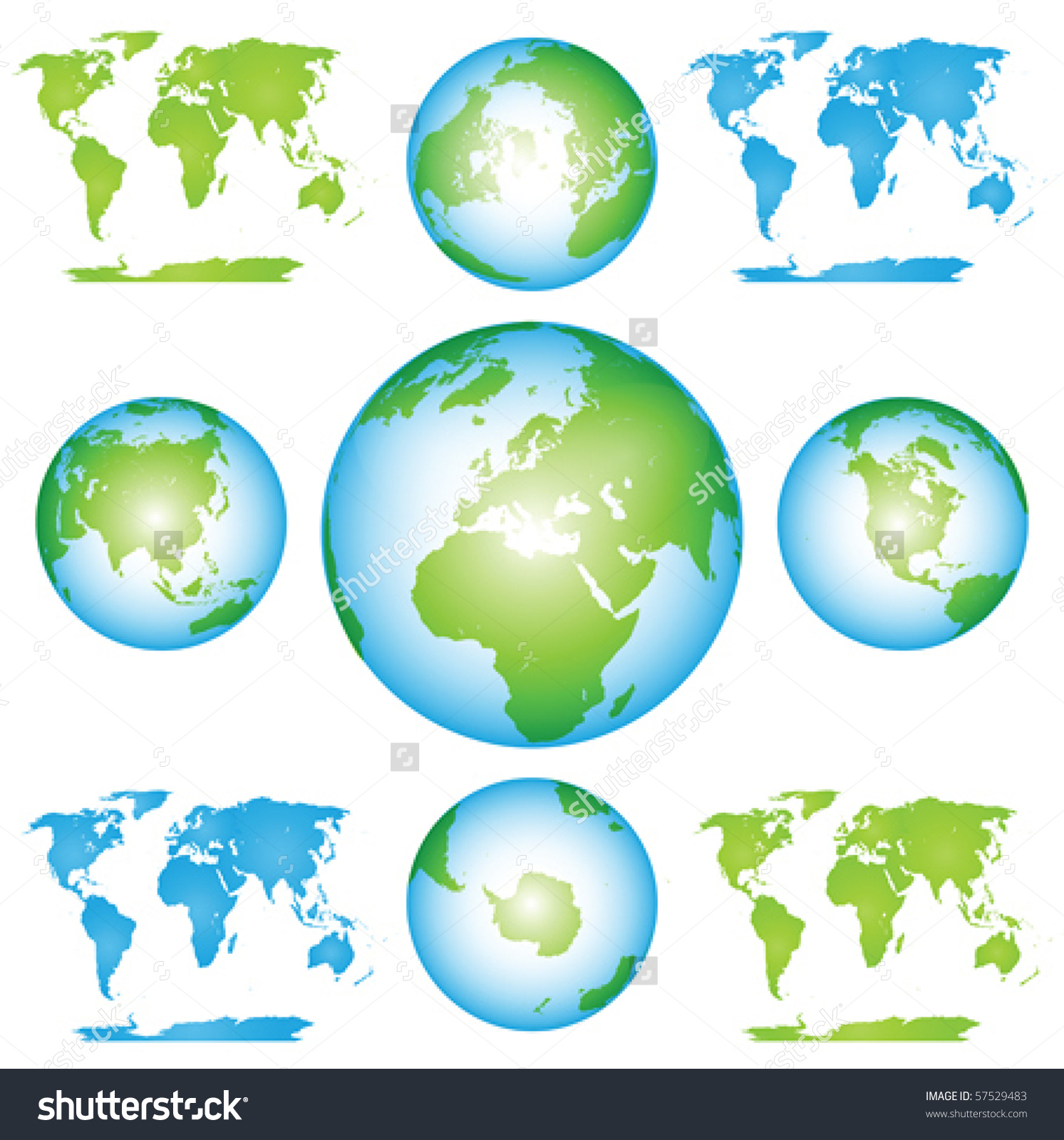Vector Globes Maps Collection Clip Art Stock Vector 57529483.