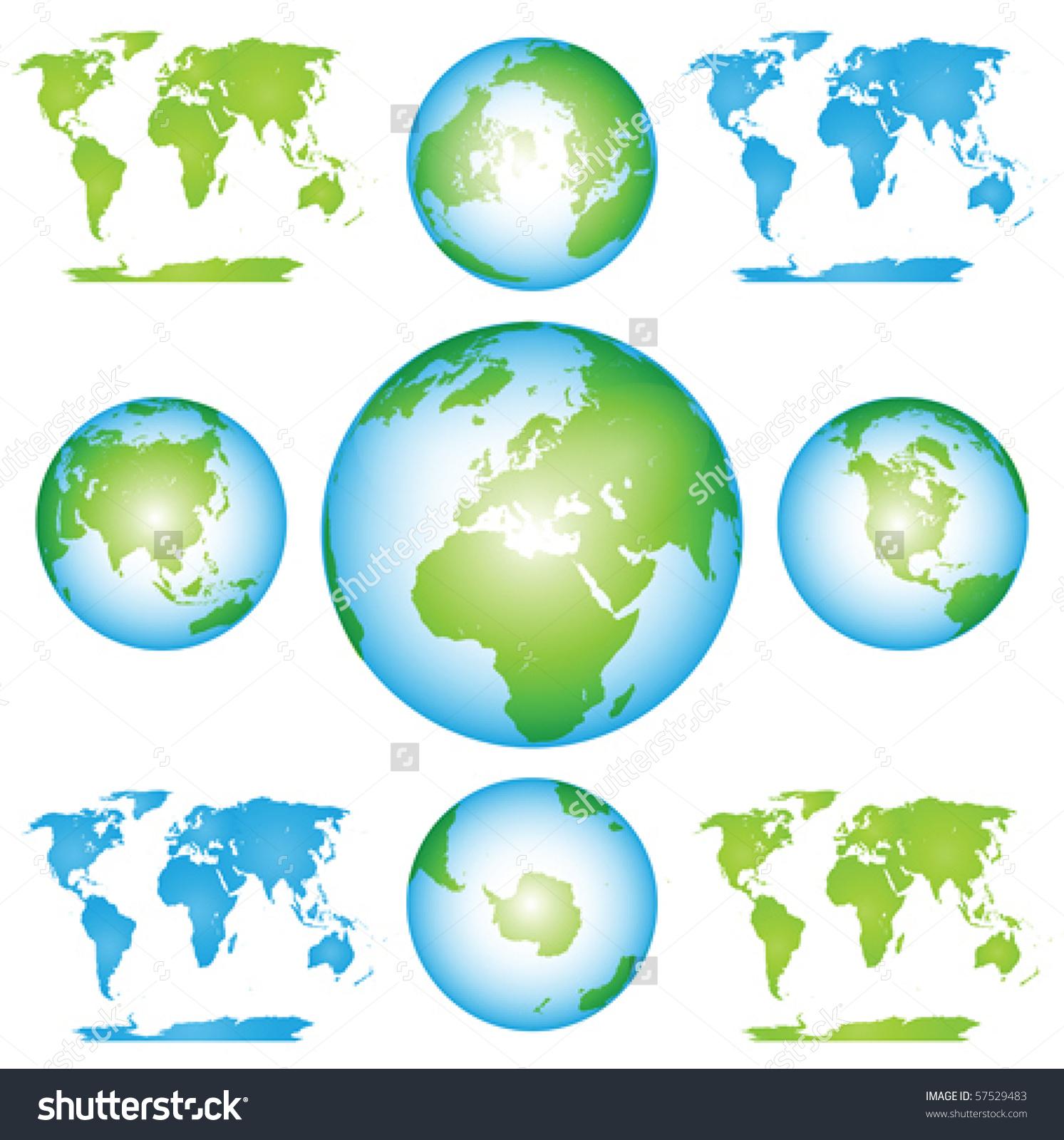 Vector Globes Maps Collection Clip Art Stock Vector 57529483.