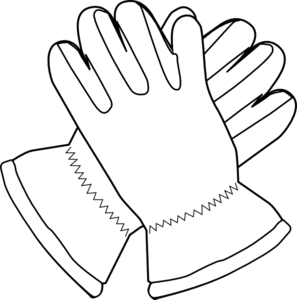 Gloves Outline clip art.