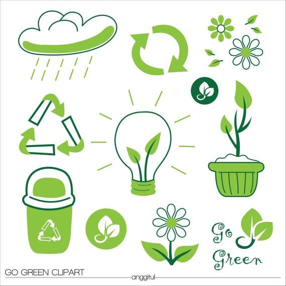 GO GREEN NATURAL Bio Clipart Vector Instant Download.