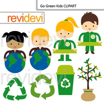 Recycle and Go Green Clip art / Earth day theme clipart.