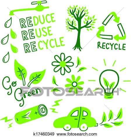 GO GREEN ICON SET Clip Art.