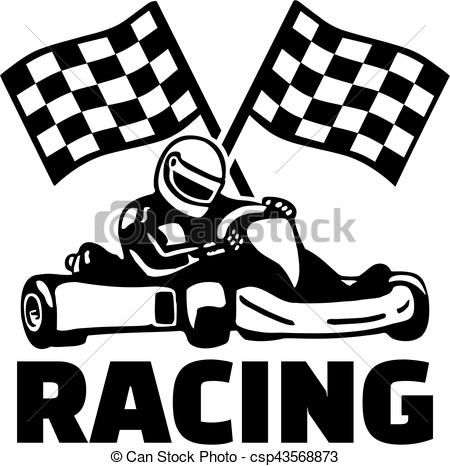 Goal flags and kart racing Vector.