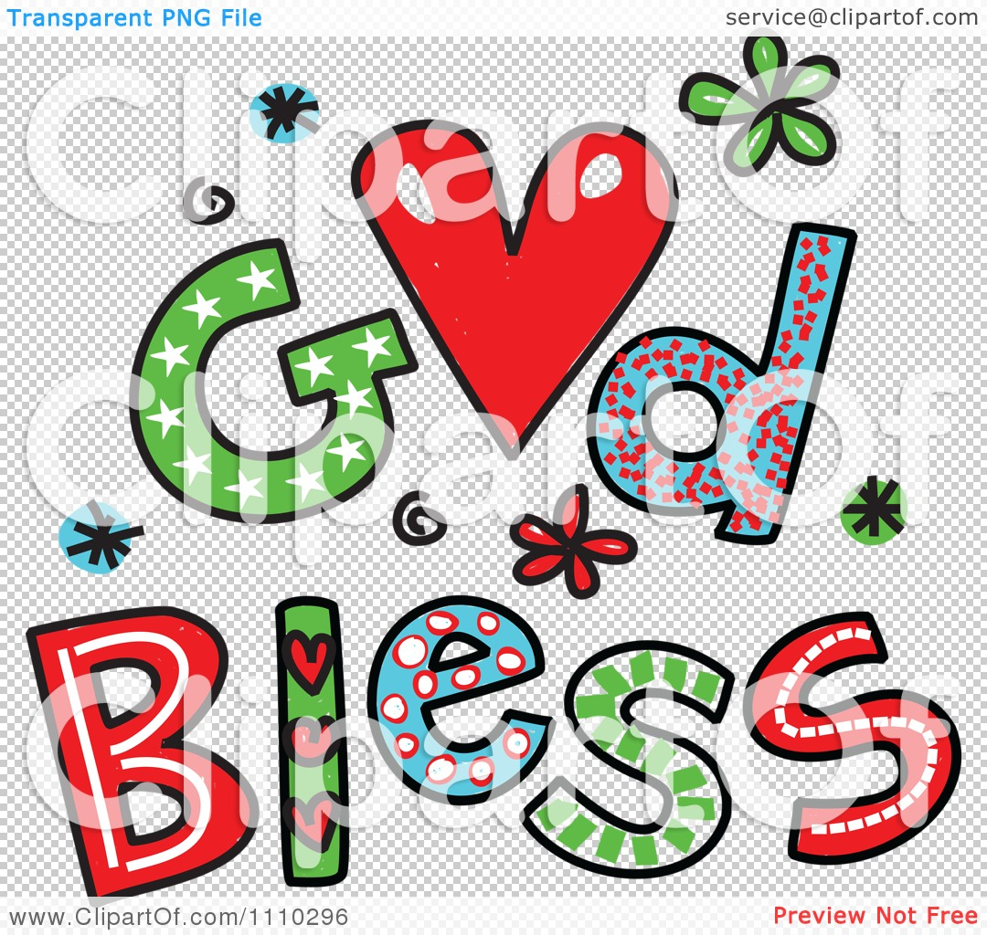 Clipart Colorful Sketched God Bless Text 2.