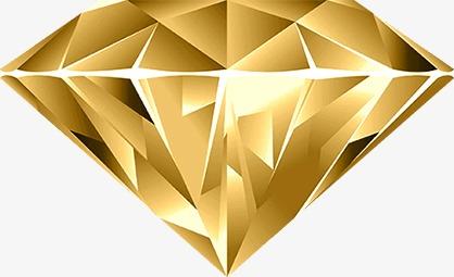 Gold Diamond, Diamond Clipart, Golden, Diamond PNG Transparent Image.