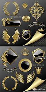 Vector Armorial Gold Heraldry Clipart Premium Gold.