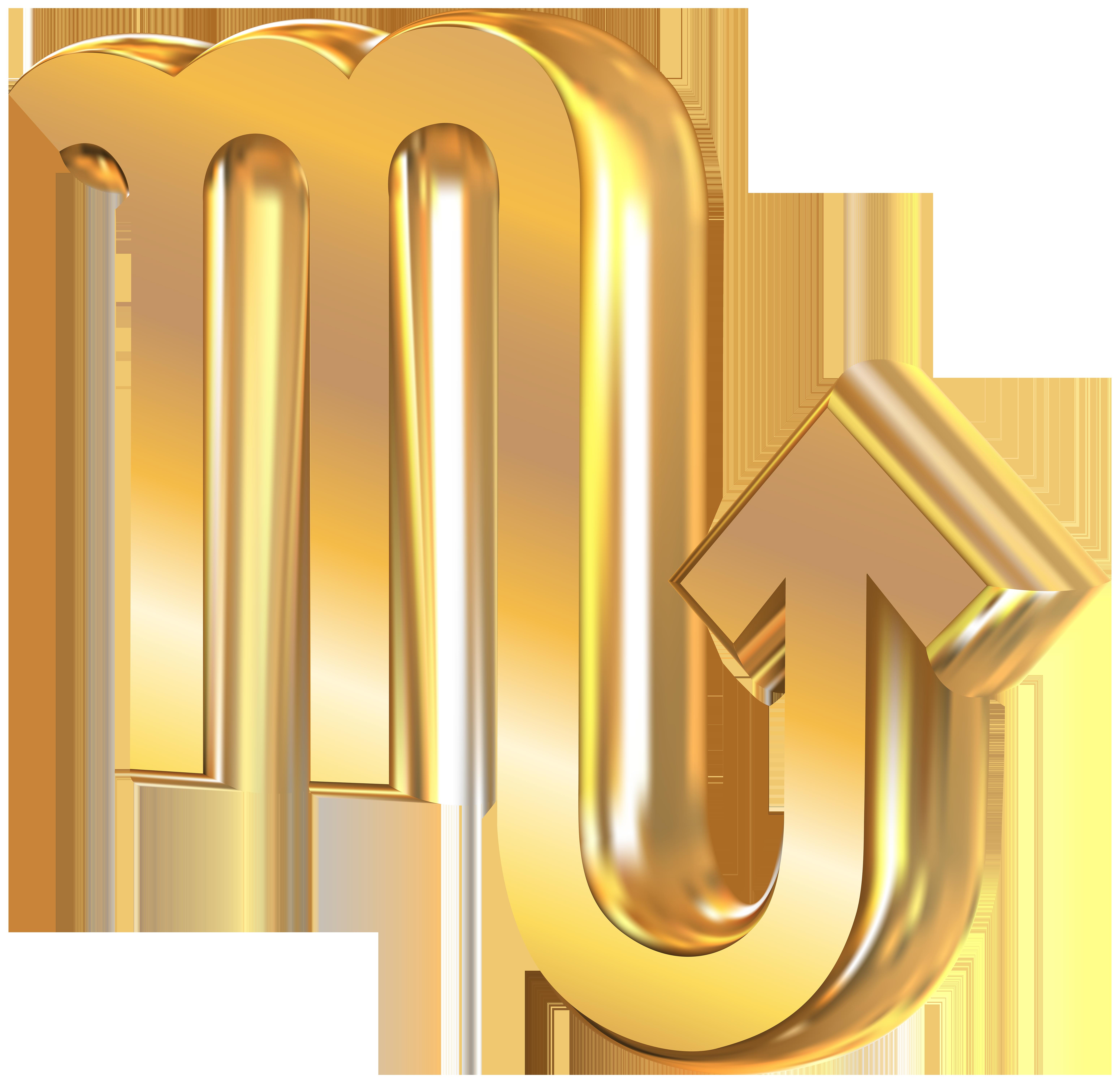 Scorpio 3D Gold Zodiac Sign PNG Clip Art Image.
