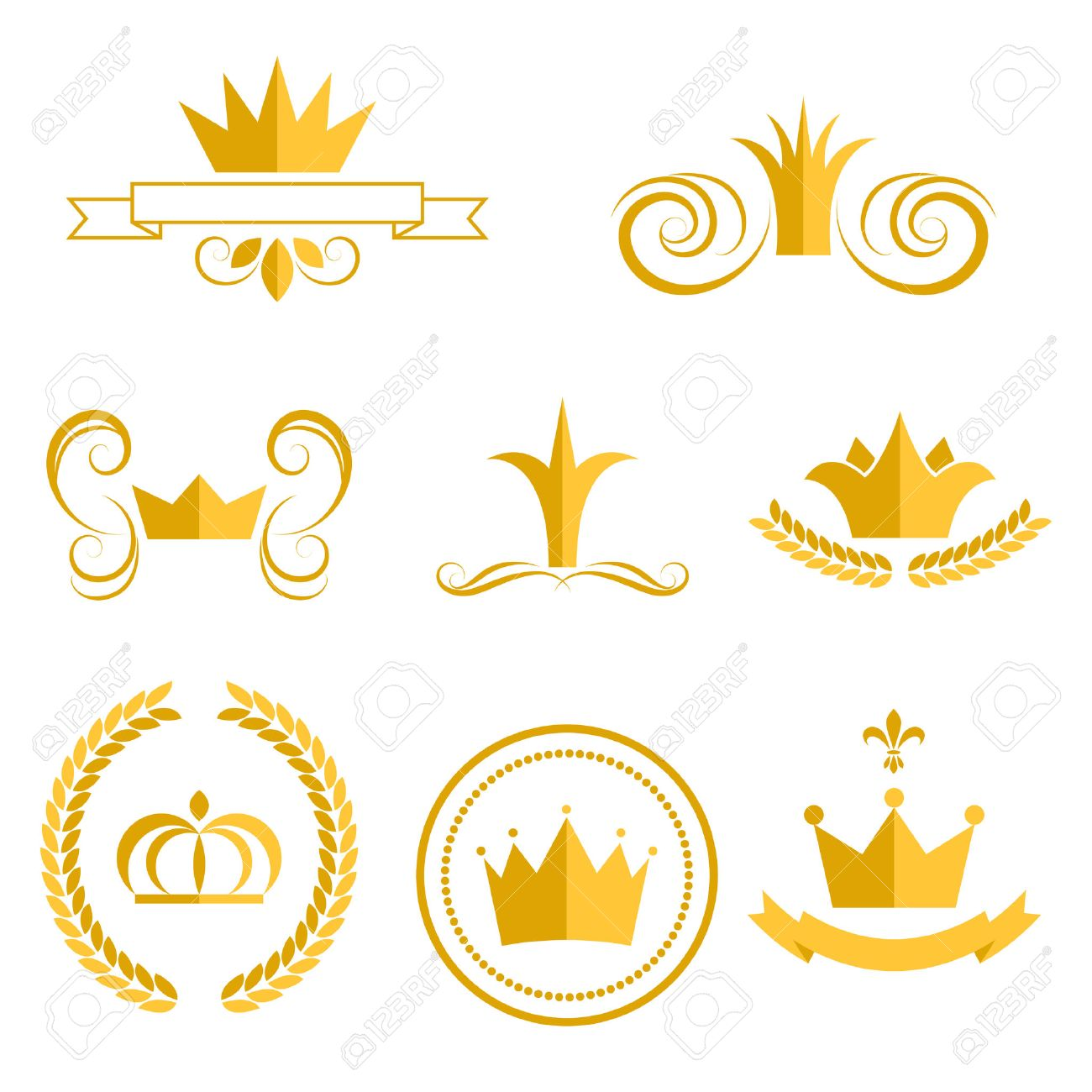 Gold crown logos and badges clip art vector set. King or queen...