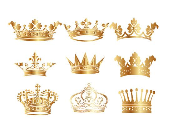 Gold Crown Clip Art Crown Clipart Digital Crown by BlueGraphic.