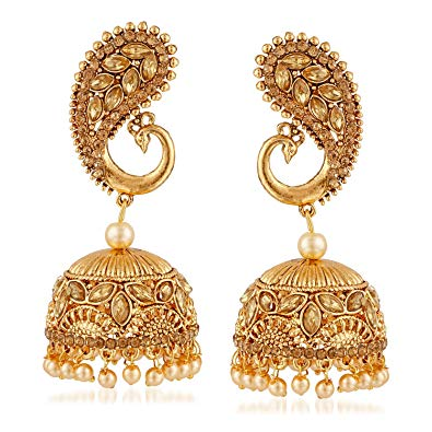 MEENAZ Gold Fancy Pearl Peacock Jhumka Jhumki Earrings for Women girls  Stylish latest design.