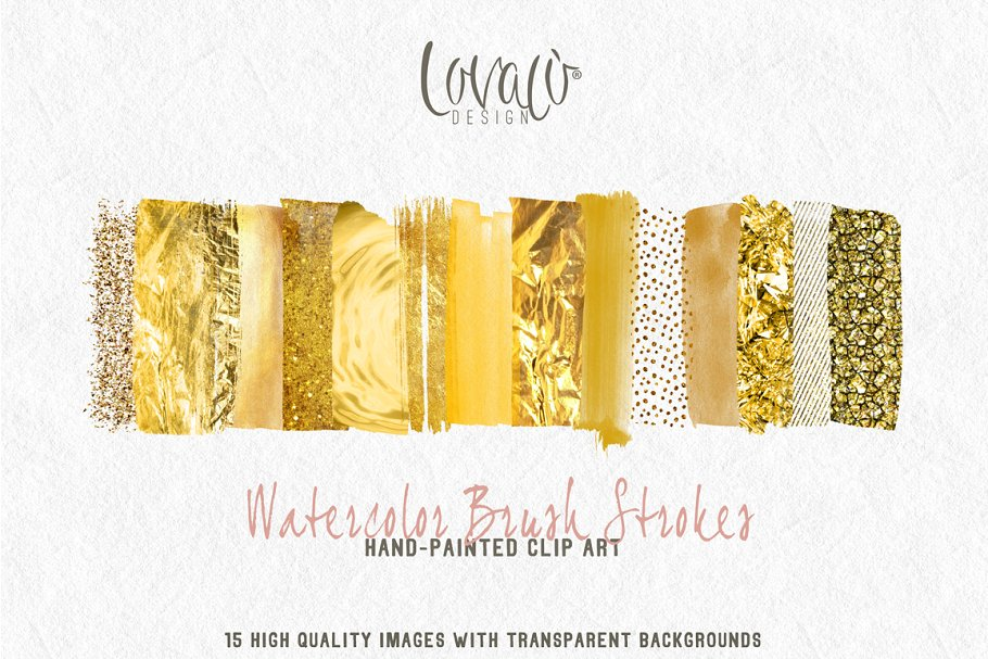 Rich Gold brush strokes clipart.