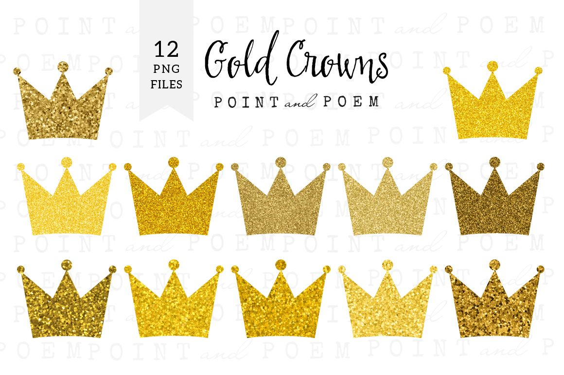 Gold Glitter Crown Clipart by Point and Poem on Creative.