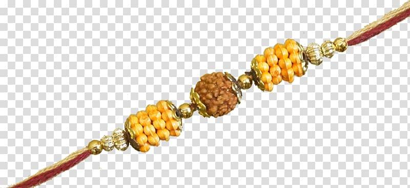 Beaded yellow and brown necklace, India Raksha Bandhan.