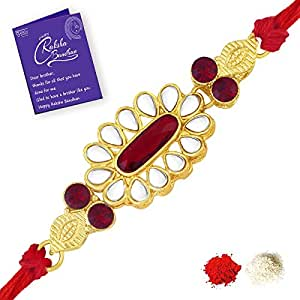 Sukkhi Marquise Gold Plated Floral Rakhi for brother with Roli Chawal and  Raksha Bandhan Greeting Card For Men.