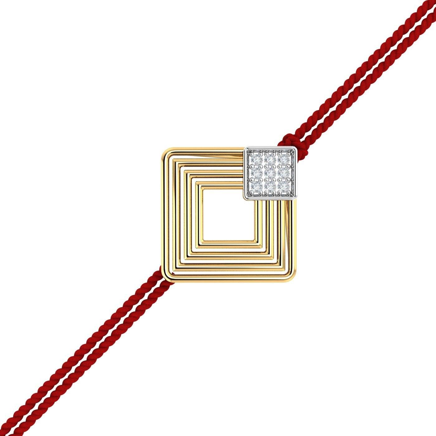 Modern Gold Rakhi Pendant.With a squarish modern design.