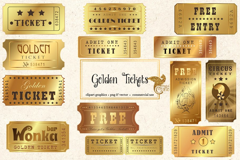 Golden Tickets Vector Clipart.