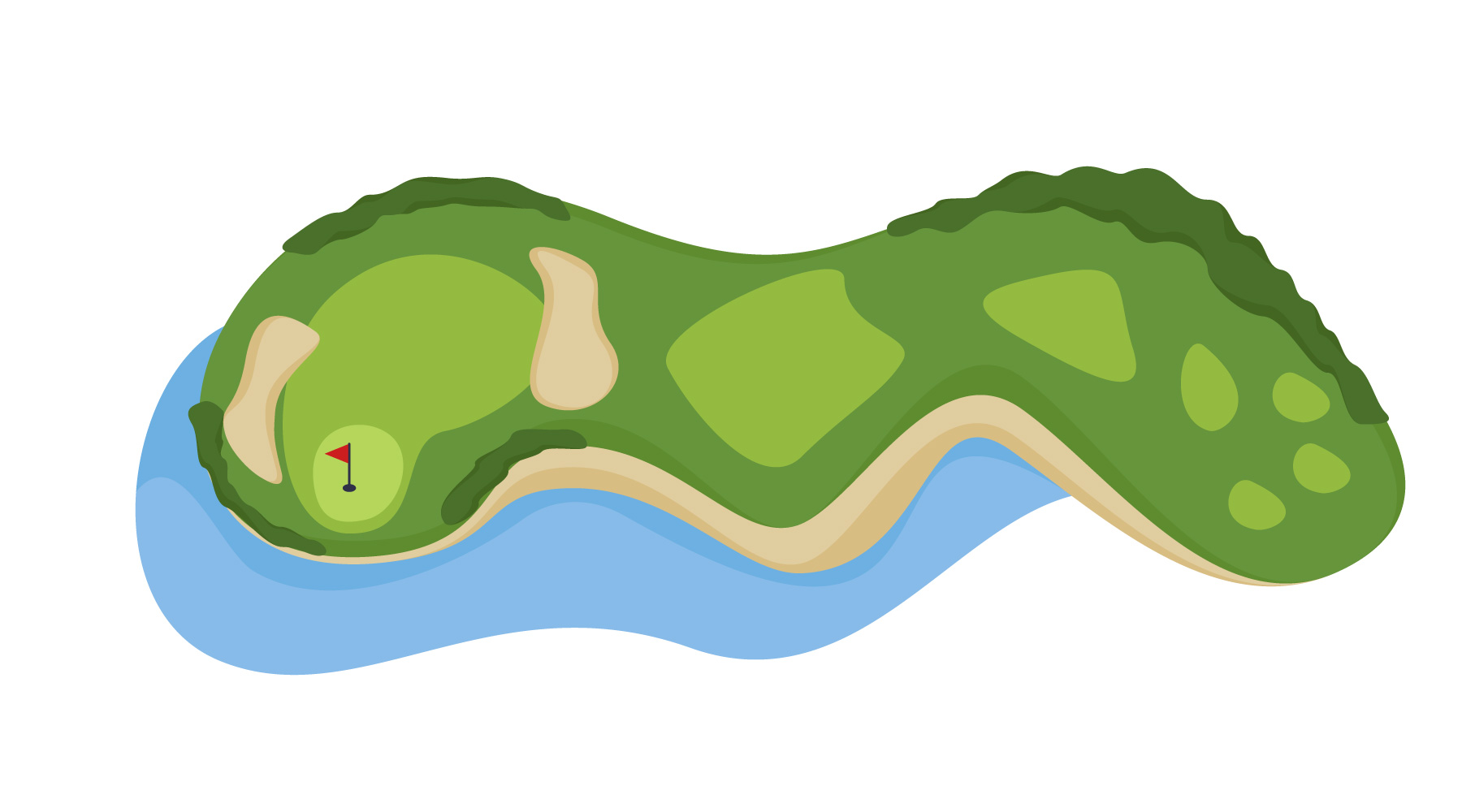 Golf Course Hole with bunker and water Vectors.