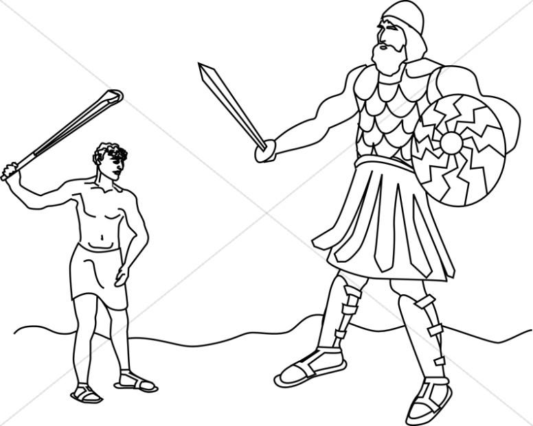 David Battles the Giant Goliath.