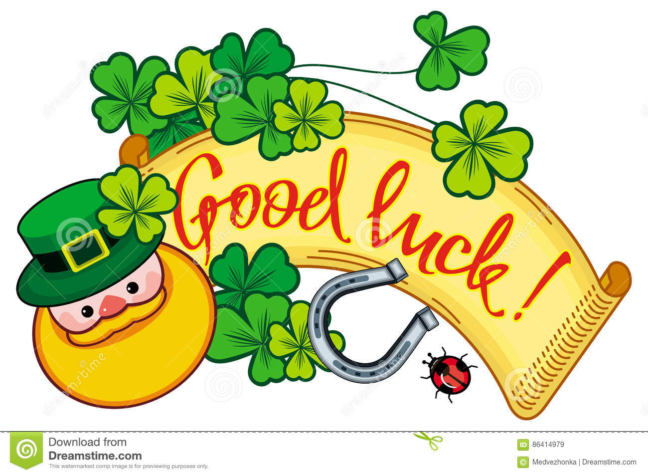 Funny Label With Shamrock, Leprechaun And Text Good Luck!. Raster.