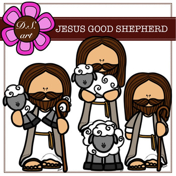 JESUS GOOD SHEPHERD Digital Clipart (color and black&white).