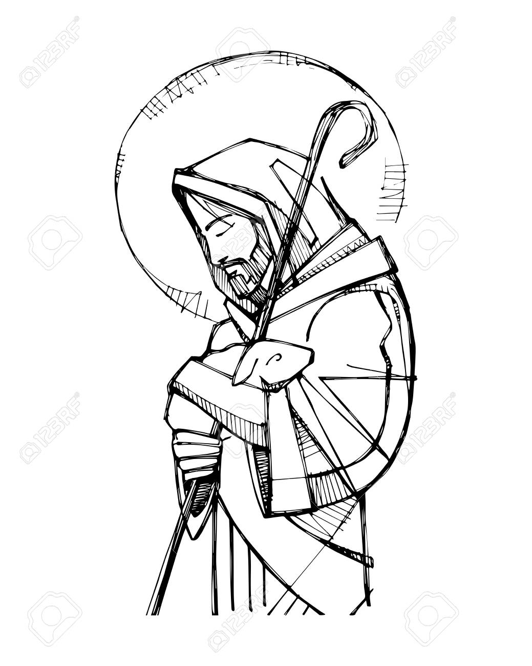 Vector illustration or drawing of Jesus Christ Good Shepherd.