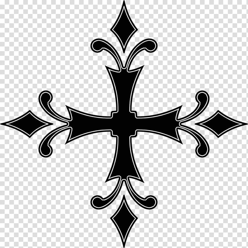 Gothic cross, black cross art transparent background PNG.