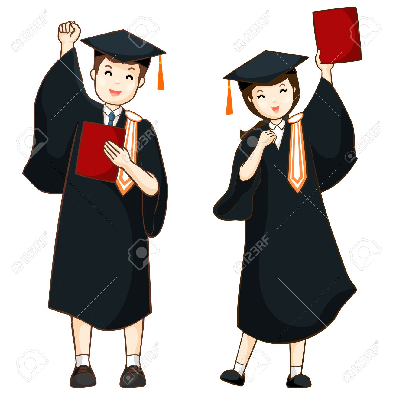 boy and girl graduate from high school illustration.