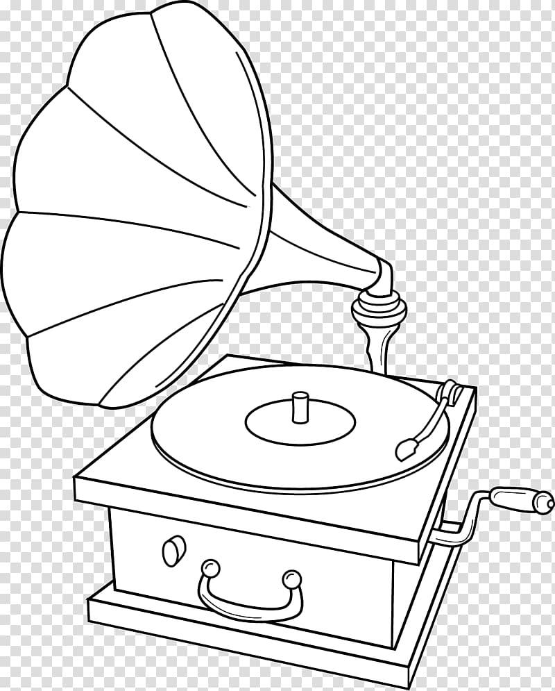 Phonograph record Coloring book , gramophone transparent.