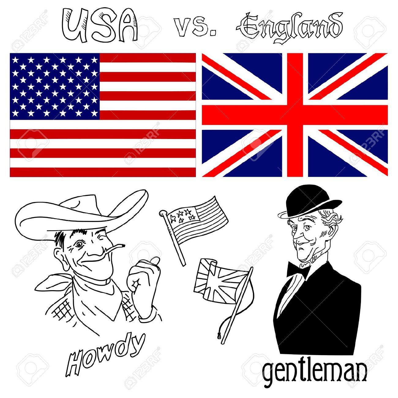 L'America Contro La Gran Bretagna Clipart Royalty.