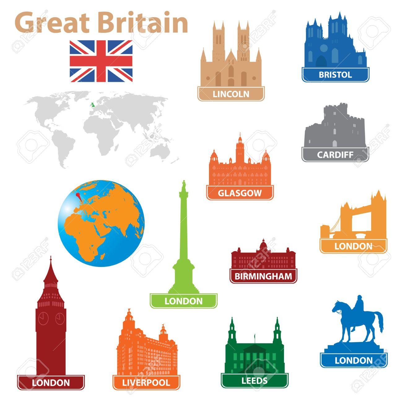 Simboli Della Città In Gran Bretagna. Vector Illustration Clipart.