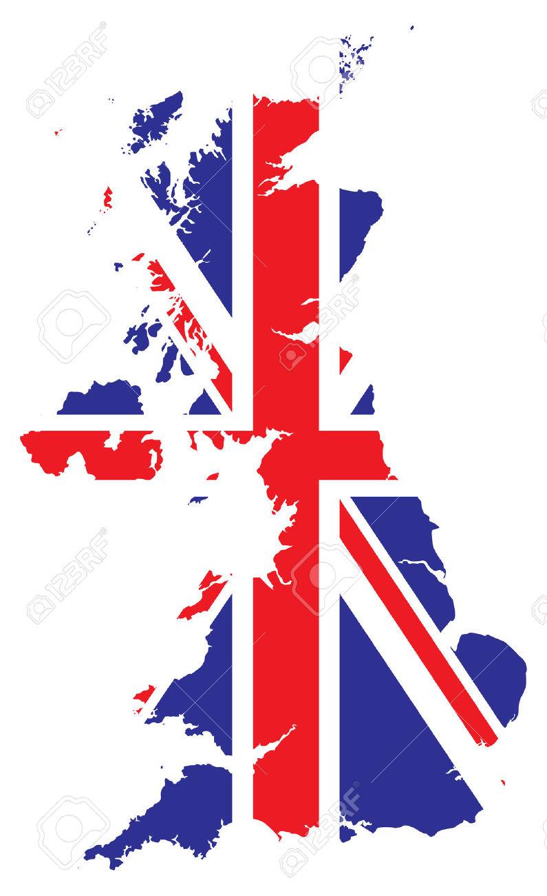 Mappa Della Gran Bretagna In Una Bandiera Clipart Royalty.
