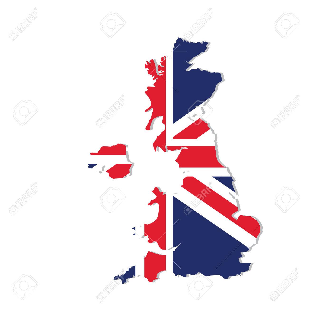 Illustrazione Uk Mappa Con Bandiera. Inghilterra Mappa. Regno.
