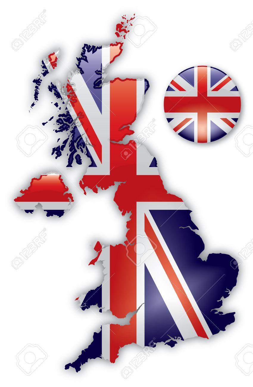 Mappa Dettagliata Della Gran Bretagna Clipart Royalty.