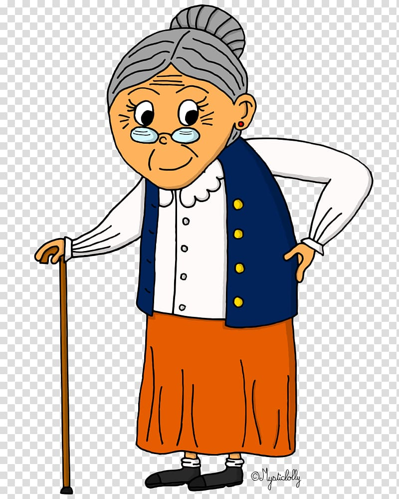 Drawing grandmother Character, others transparent background.