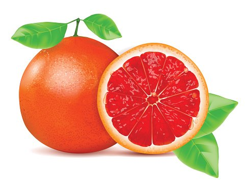 Red Grapefruit With Leaf Isolated ON White premium clipart.