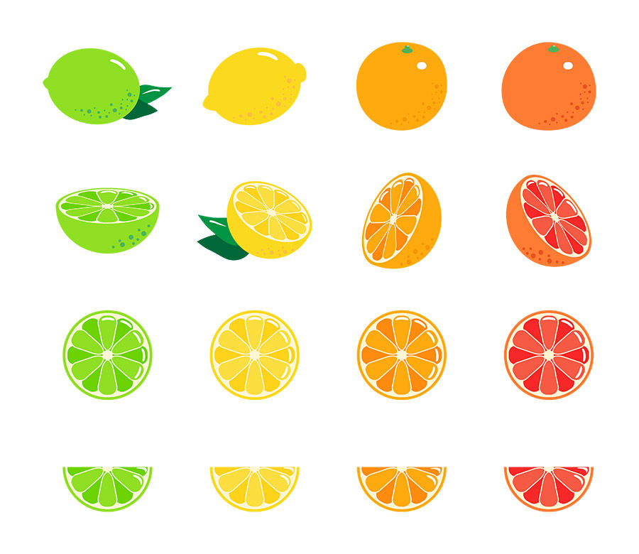 16 Citrus Fruits, Fruit Clipart, Citrus Clipart, Lemon Clipart, Lime.