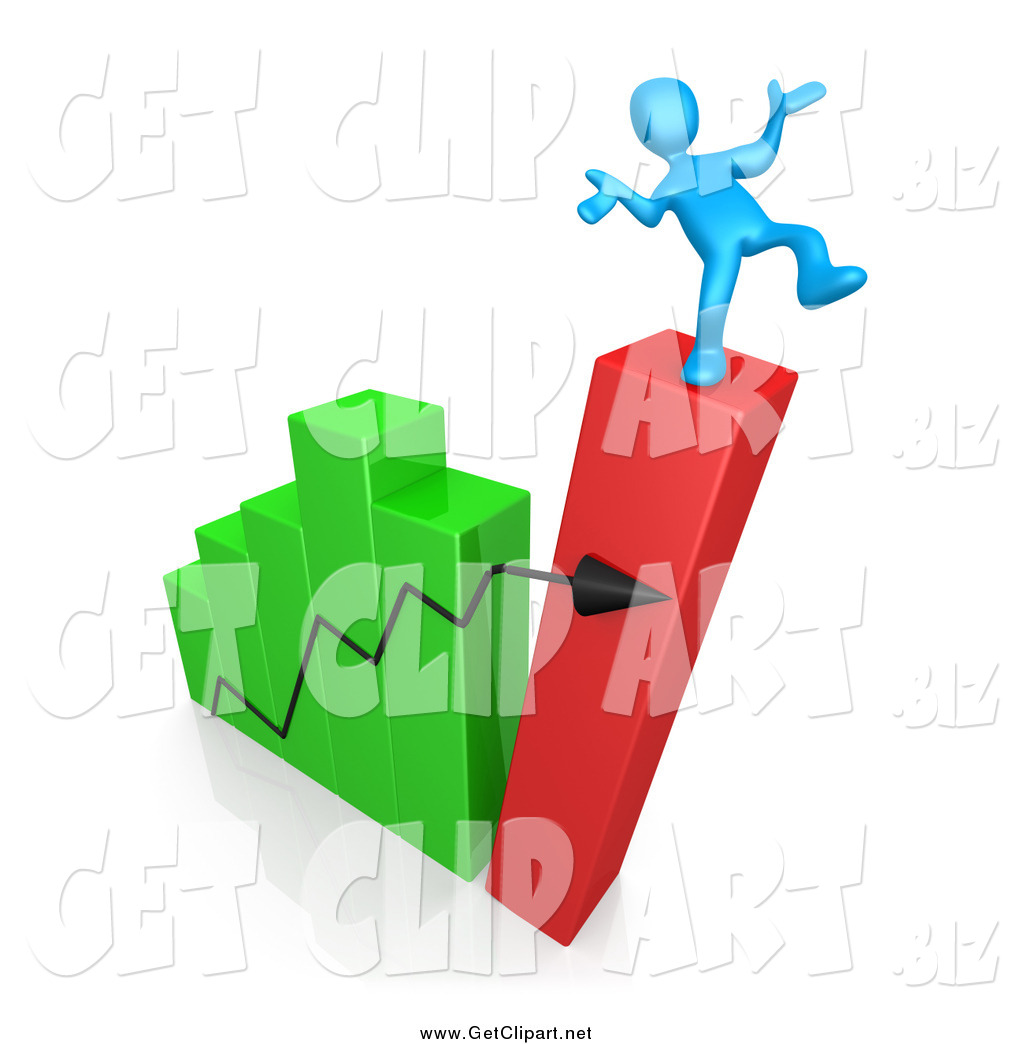 Clip Art of a 3d Collapsing Bar Graph Chart and Man.