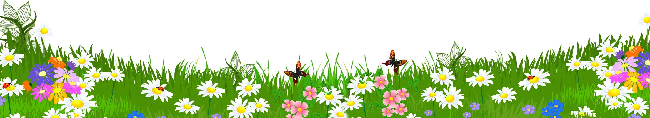 Grass Ground with Flowers PNG Clipart.