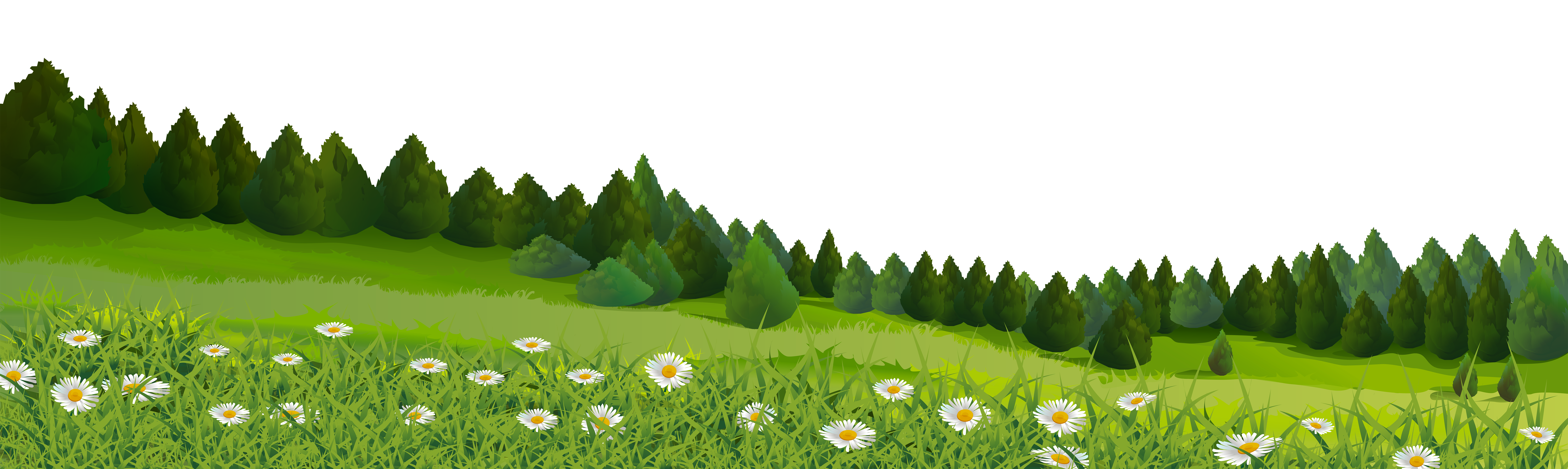 Trees and Grass PNG Clip Art Image.