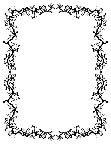Borda floral em preto e branco de clip.