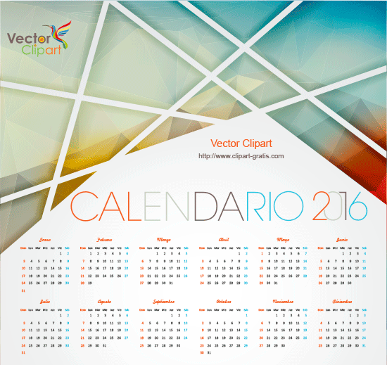 Calendario 2016 Abstracto en vector.