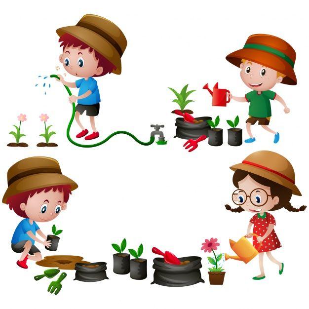 Diseño de niños en el jardín Vector Gratis.