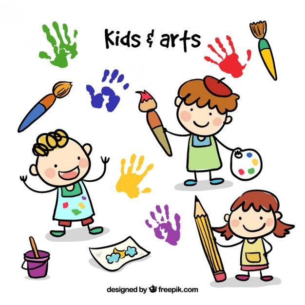 Niños de bosquejo con elementos artístico.