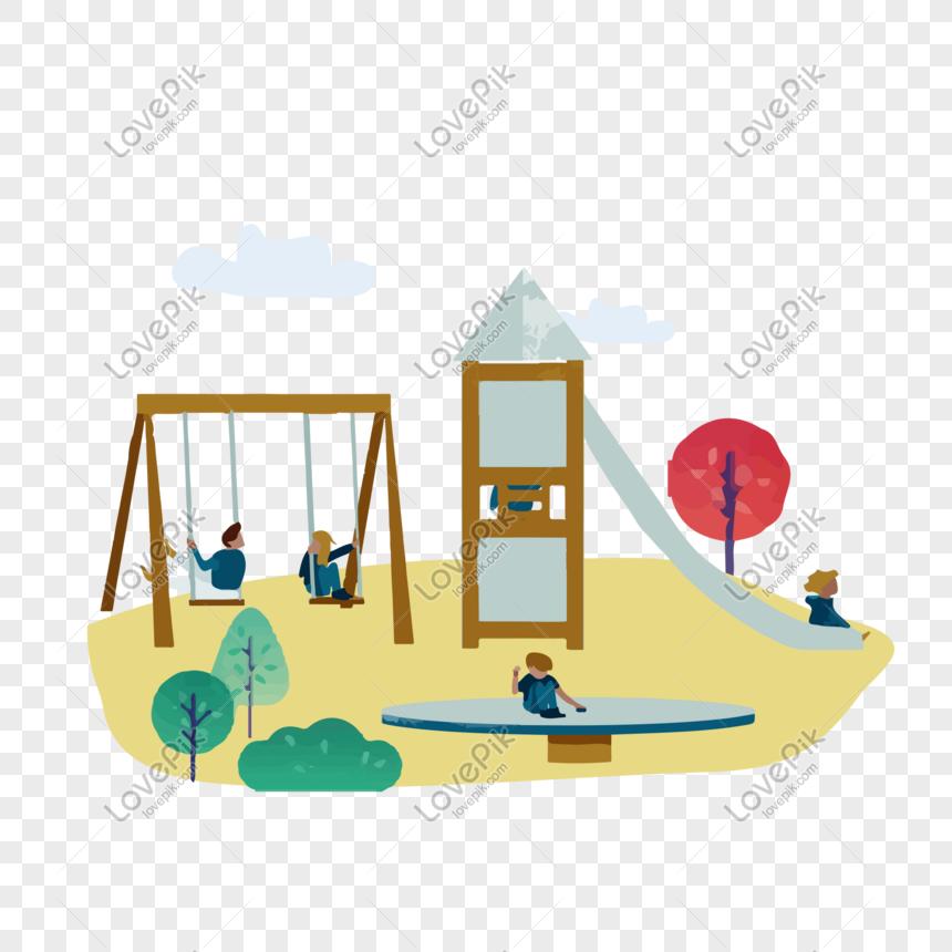 niños niños parque de atracciones escena vector clipart.