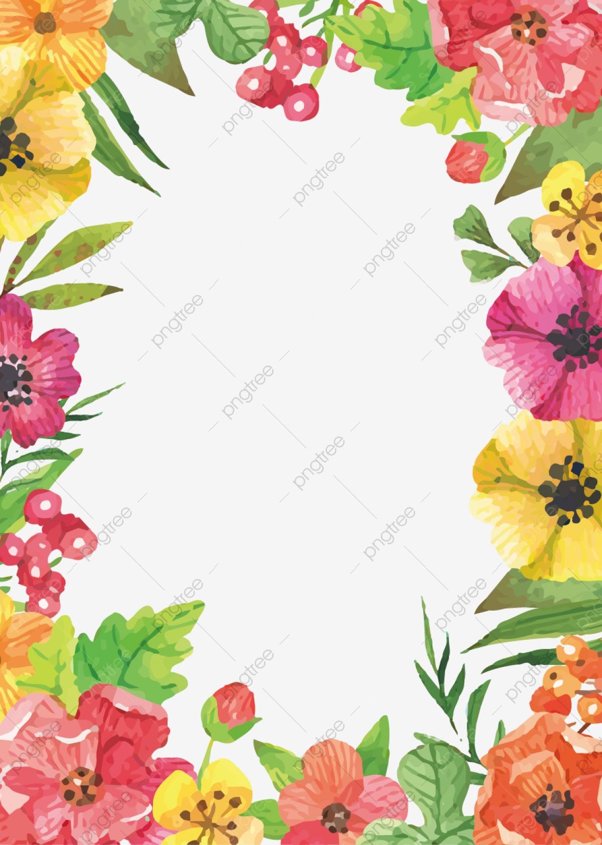 Watercolor Flowers Frontera, Watercolor Flowers Vector, Vector.
