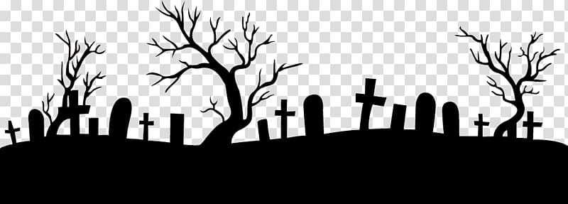 Silhouette of tombstones and trees, Graveyard Footer transparent.