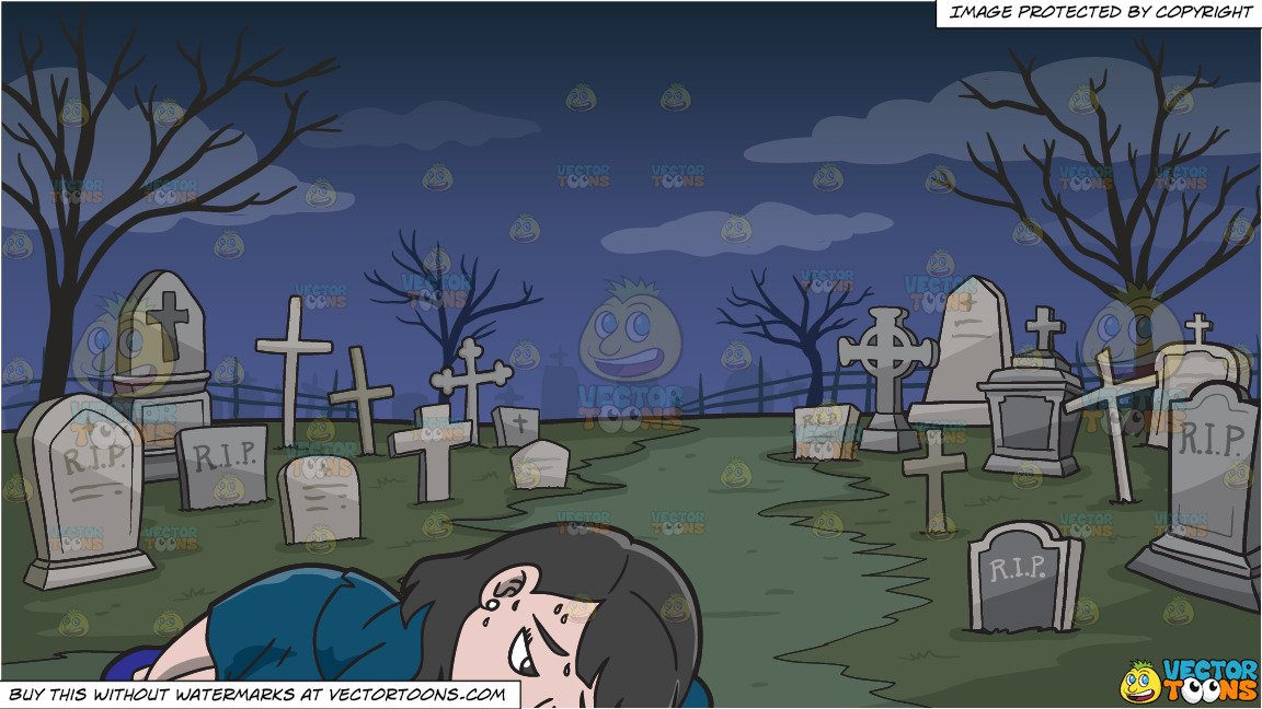 A Woman Exhausted From Work and A Graveyard Background.